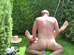 German Daddy Lure Step-Daughter to Nail in the Garden