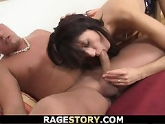 Dark haired takes rough penalty for cuckold