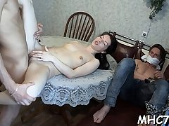Cuckold beauty fucks some other boy