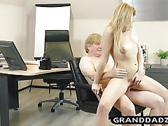 Young boss gets her foot worship pleased by old worker