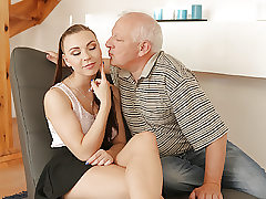 DADDY4K. Old gentleman easily seduces luxurious red-haired to..